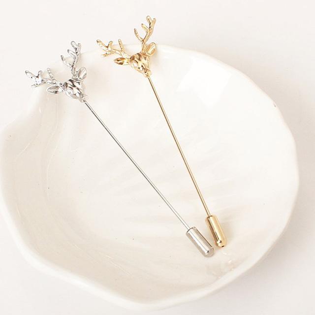 Simple Retro Deer Head Pin Brooch
