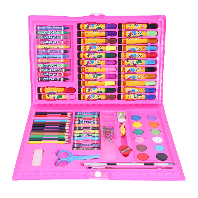 86 Pcs/ Set Children's Painting Tools Art Supplies For Drawing With Watercolor Pens Ruler Pencil Eraser Pencil Sharpener Etc