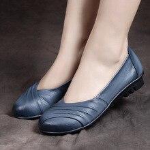 Véritable en cuir printemps femmes plat chaussures 2017 Originaux Faits Main mère chaussures plat vache en cuir chaussures femme casual chaussures