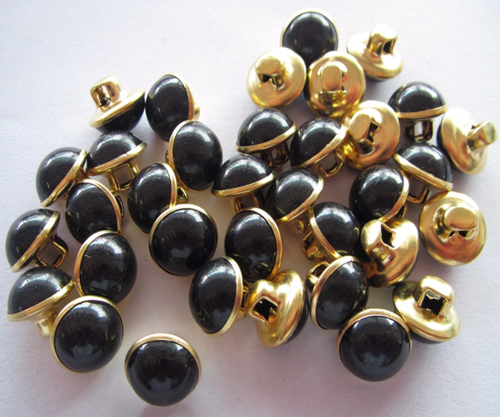 Fress shipping 10mm brass bottom with black plastic combined buttongold color button 100pcs