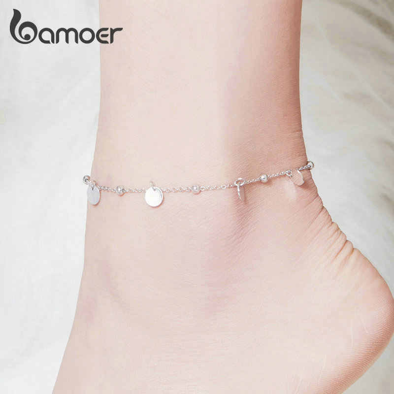 bamoer Silver Beads Anklets 925 Sterling Silver Geometric Minimalist Summer Fashion Foot Jewelry Bracelet for Ankle  SCT011