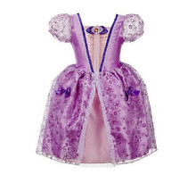Sofia Cinderella Rapunzel Belle Snow White Girl Kid Short Sleeve Princess Dress Up Teenage Halloween Party Dress Cosplay Costume