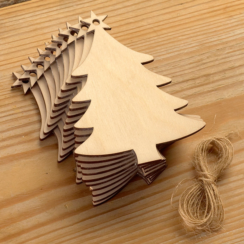 pack of 10pcs wood craft christmas tree laser cut christmas ornaments wooden tree hanging decoration for merry christmas xmas in party diy decorations from - Wooden Laser Cut Christmas Decorations