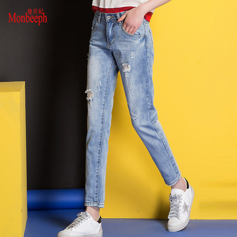 NEW Vintage Ankle-Length Pants Ripped Jeans Women 9/10 denim Pants hole Jeans  Spliced trousers Regular high quality pants 2018 spring summer new denim pants jeans women vintage ankle length jeans high waist lady ripped hole fashion trousers plus size
