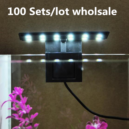 100Sets/lot wholesale High Quality Ultra-thin LED Aquarium Lamp Fish Tank Light X3 EU/US Plug high brightness lighting