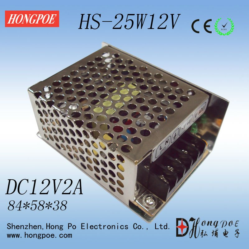 100PCS 12V 2A 25W Switching Power Supply Driver for LED Strip AC 100-240V Input to DC 12V free shipping ac 85v 265v to 20 38v 600ma power supply driver adapter for led light lamp