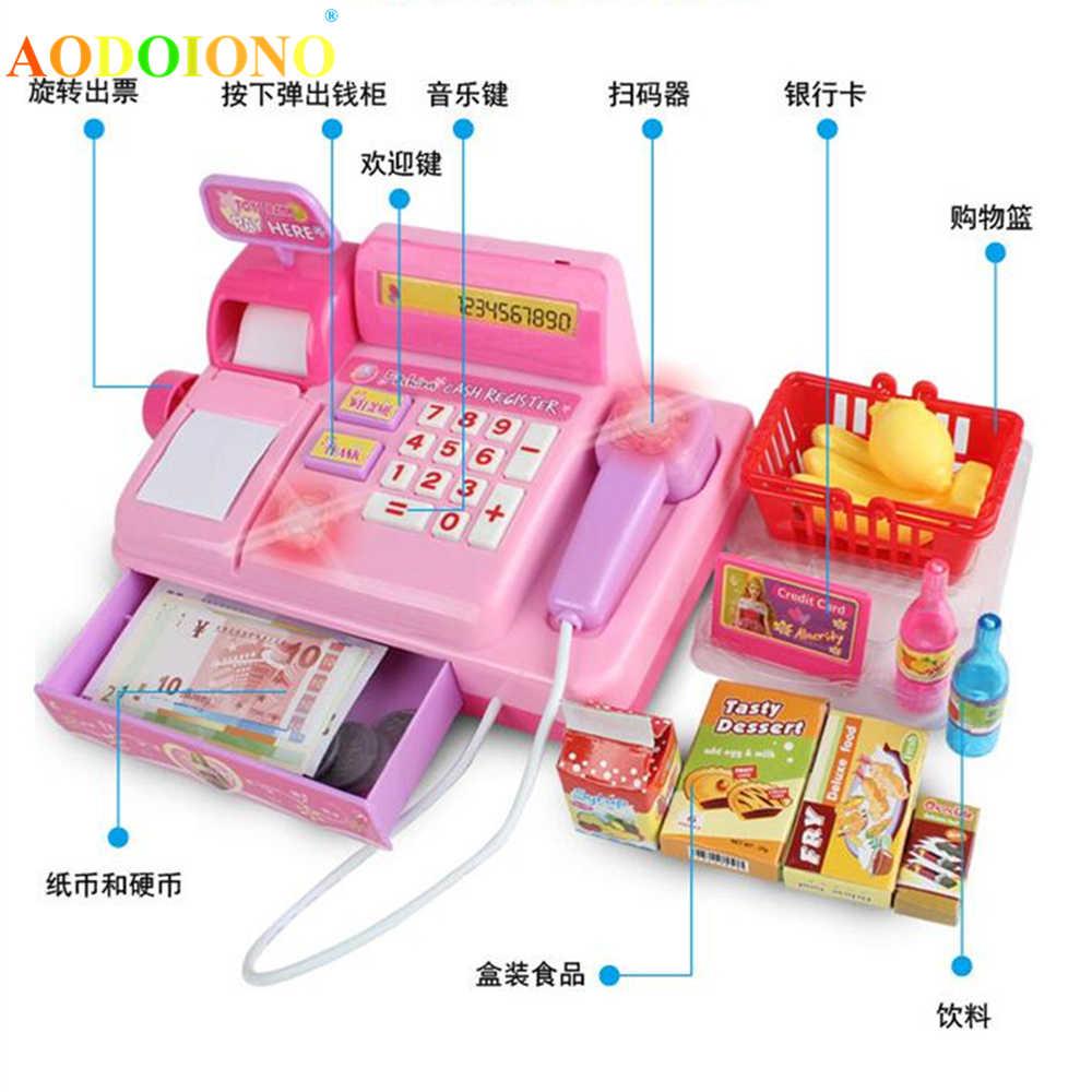 18 Pcs Elektronik Supermarket Mainan Keranjang Belanja Keranjang Barang Mesin Suara Berpura-pura Bermain Kasir Mainan untuk Anak Perempuan