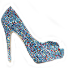 Blue Rhinestone Peep Toe Stiletto Heel Bridal Dress Shoes Women Banquet wedding Dress Shoes Popular FormalPumps