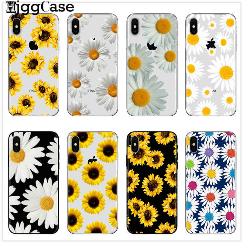 Nette Sommer Daisy Sunflower Floral Blume Soft Clear Telefon Fall Für iPhone 7 7 Plus 6 6 S 8 8 PLUS X XS Max SAMSUNG S8 S9 S10 PLUS