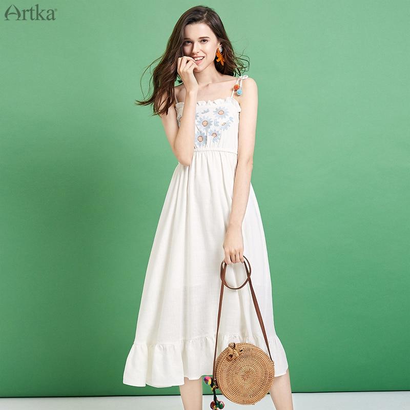 ARTKA 2019 été nouvelles femmes robes Spaghetti sangle à volants robe en lin fleur broderie robe pour les femmes LA12495X-in Robes from Mode Femme et Accessoires    1