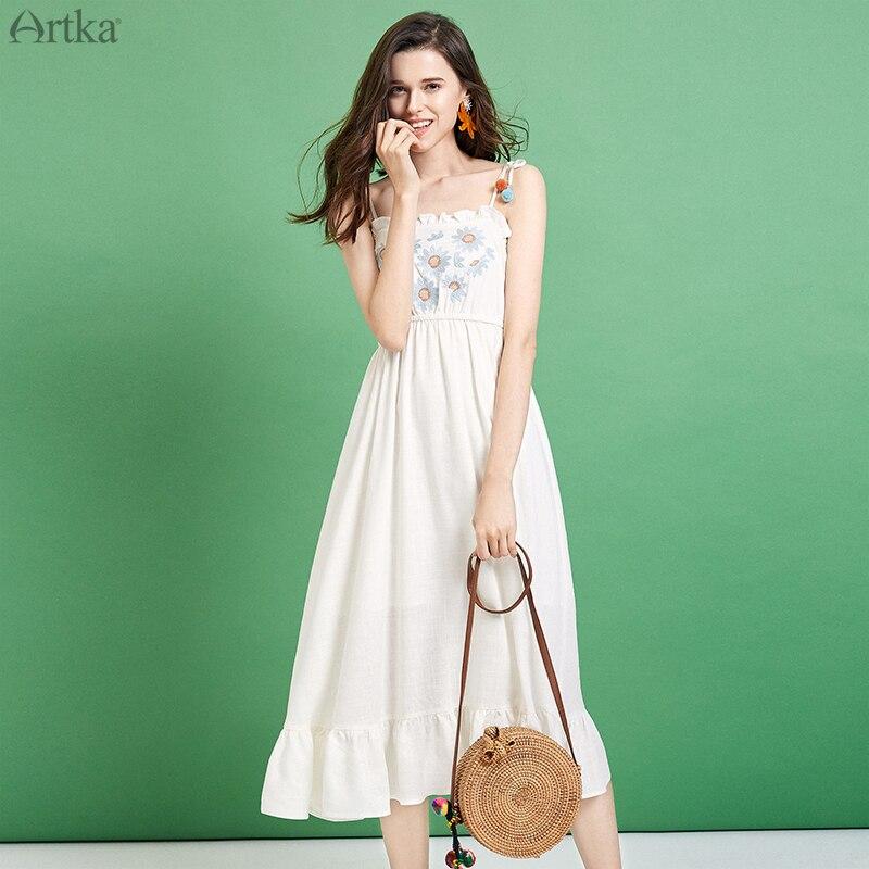 Artka 2019 여름 새 여자 드레스 스파게티 스트랩 프릴 리넨 드레스 꽃 자 수 드레스 la12495x-에서드레스부터 여성 의류 의  그룹 1