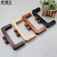 20cm M Type Purse Wood Stitching Purse Frame Closures,Change Ladies Wooden Bag Handbag Handle Frame DIY