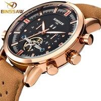 BINSSAW Men Automatic Mechanical Watch Fashion Men Casual Tourbillon Brand Calf Leather Military Sport Watches relogio masculino