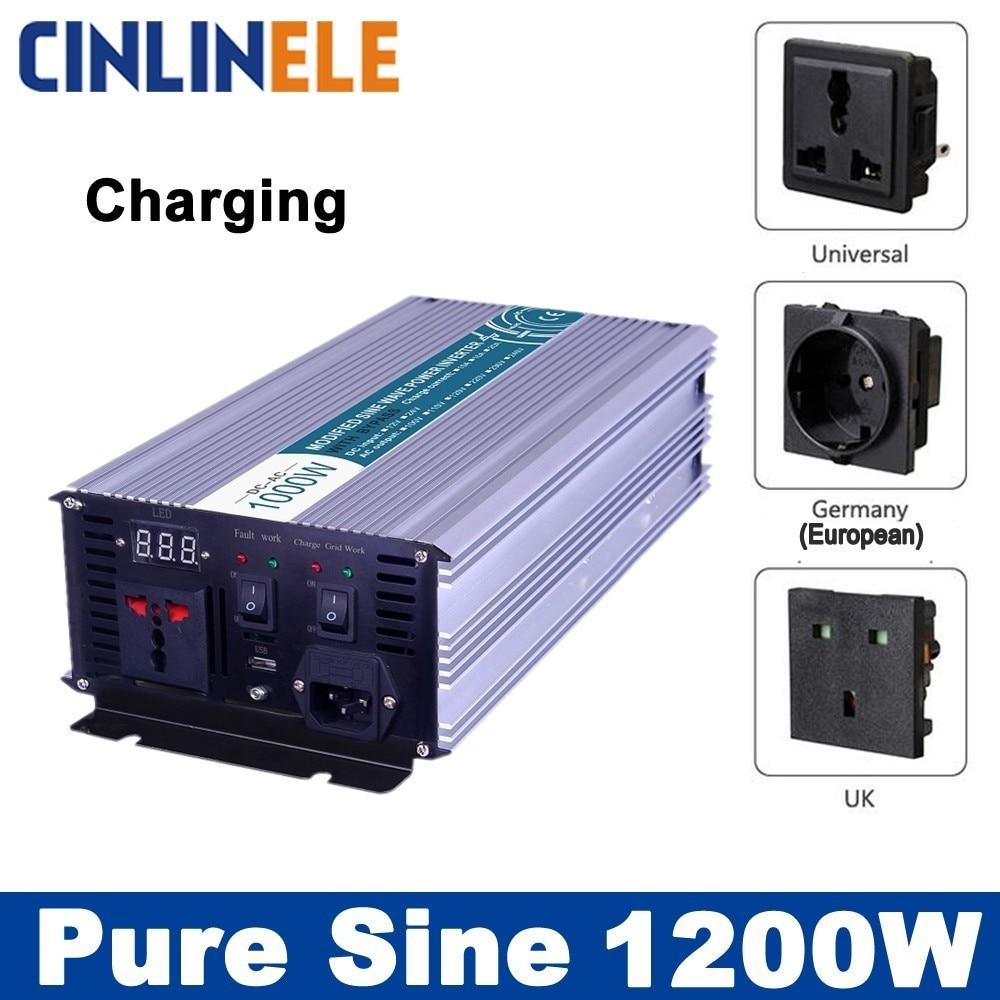 Smart Inverters Charging 1200W Pure Sine Wave Inverters CLP1200A DC 12V 24V 48V to AC 110V 220V 1200W Surge Power 2400W smart inverters charging 3000w pure sine