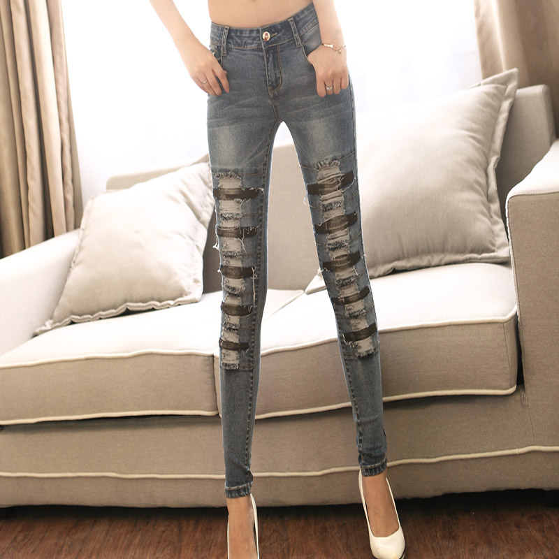 ФОТО New Large Size Women Pants Female Fitness Stretch Pencil ripped patchwork painting strip fashion women cowgirl lady Jeans