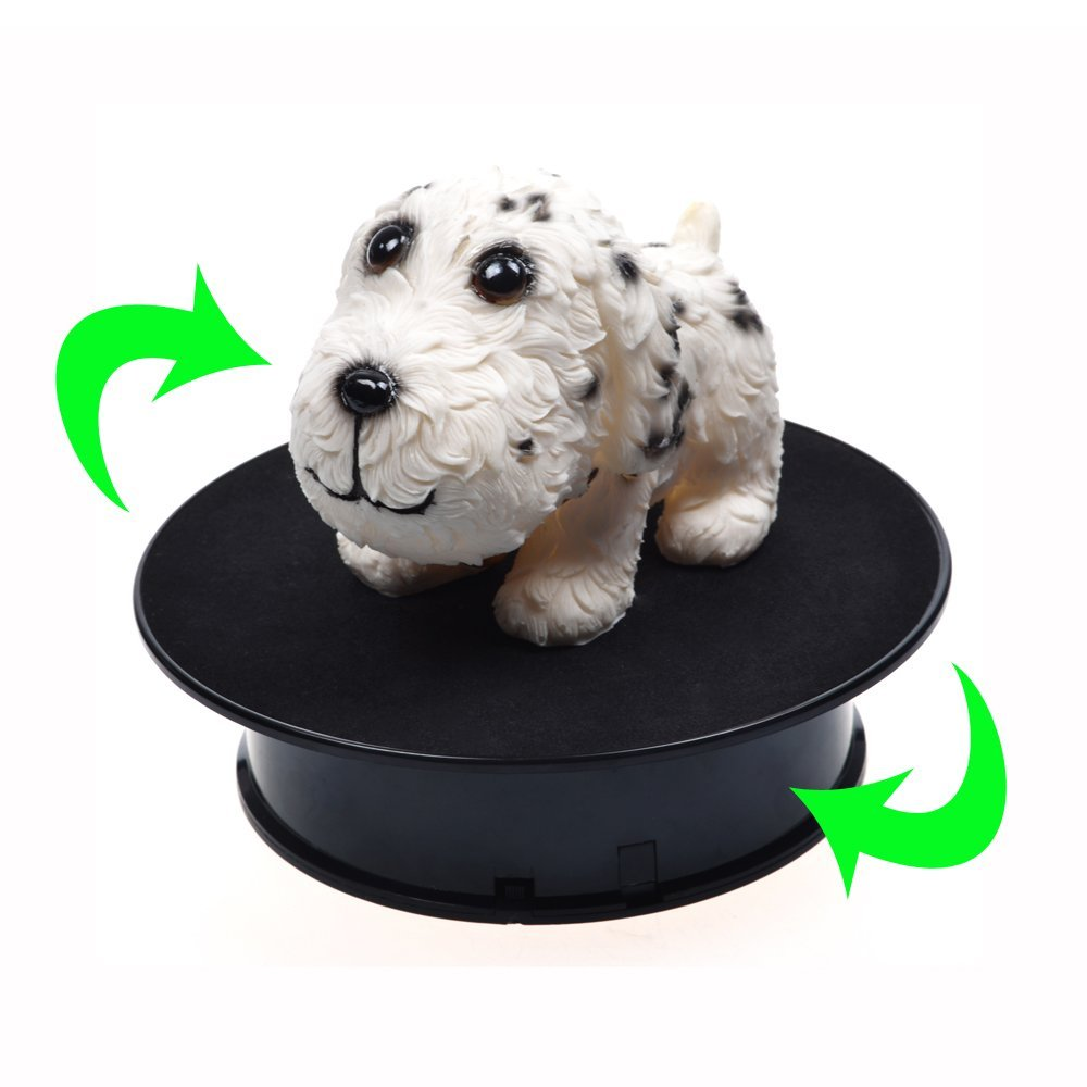 20cm Stylish Black Velvet Top Electric Motorized Rotary Rotating Display Turntable Max Load 1.5kg For Jewelry Modeldisplay Stand
