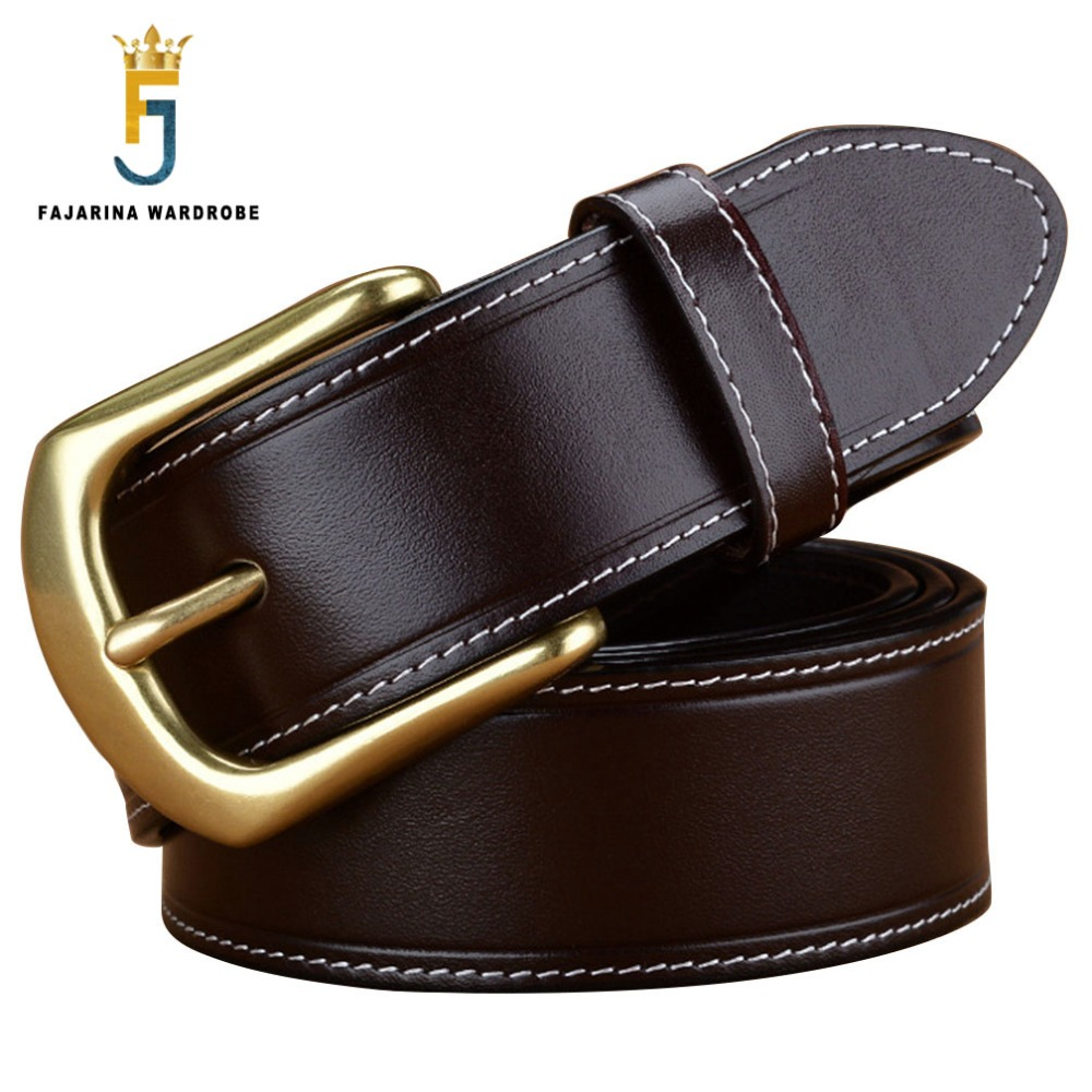 FAJARINA Men s Solid Brass Clasp Pin Buckle Men s Top Quality Belts for Men 3