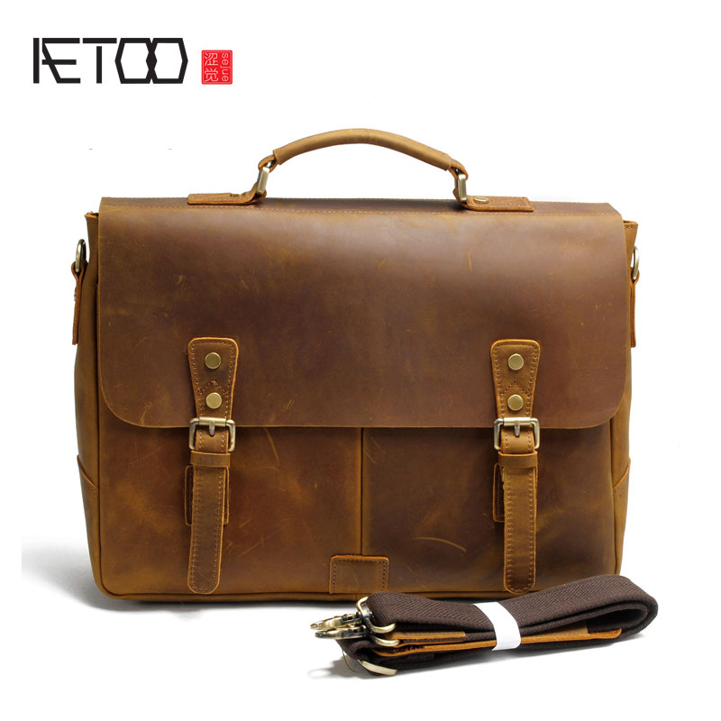 AETOO The first layer of leather men's handbags mad horse bag shoulder handmade leather Messenger bag retro computer bag aetoo the new first layer of leather handbags leather lingge shoulder bag retro cowardly messenger bag female small square bag