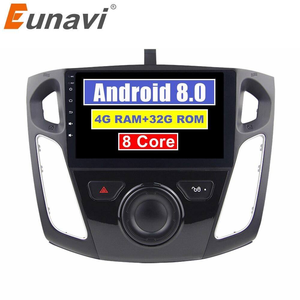 Eunavi 9 pouces Android 8.0 lecteur dvd vidéo voiture GPS pour Ford focus 2012 + wifi + 4G + BT + Radio + RDS + PX5 + 4G + 32G Octa Core TDA7851