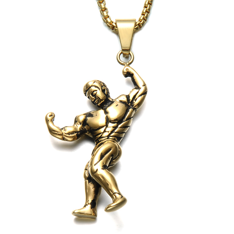 HIP Gym Fitness Strong Men Necklace Gold font b Silver b font Stainless Steel Chain Bodybuilding