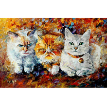 Hand Painted Landscape Abstract baby cute Kittens Palette Knife Modern Oil Painting Canvas Art Living Room hallway Artwork Fine
