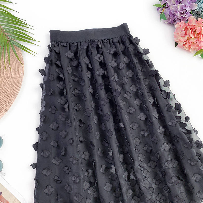 Wasteheart Spring Khaki Black Women Skirts Fashion Women High Waist Pleated Mid Calf Skirt All match Chiffon Clothing Appliques in Skirts from Women 39 s Clothing