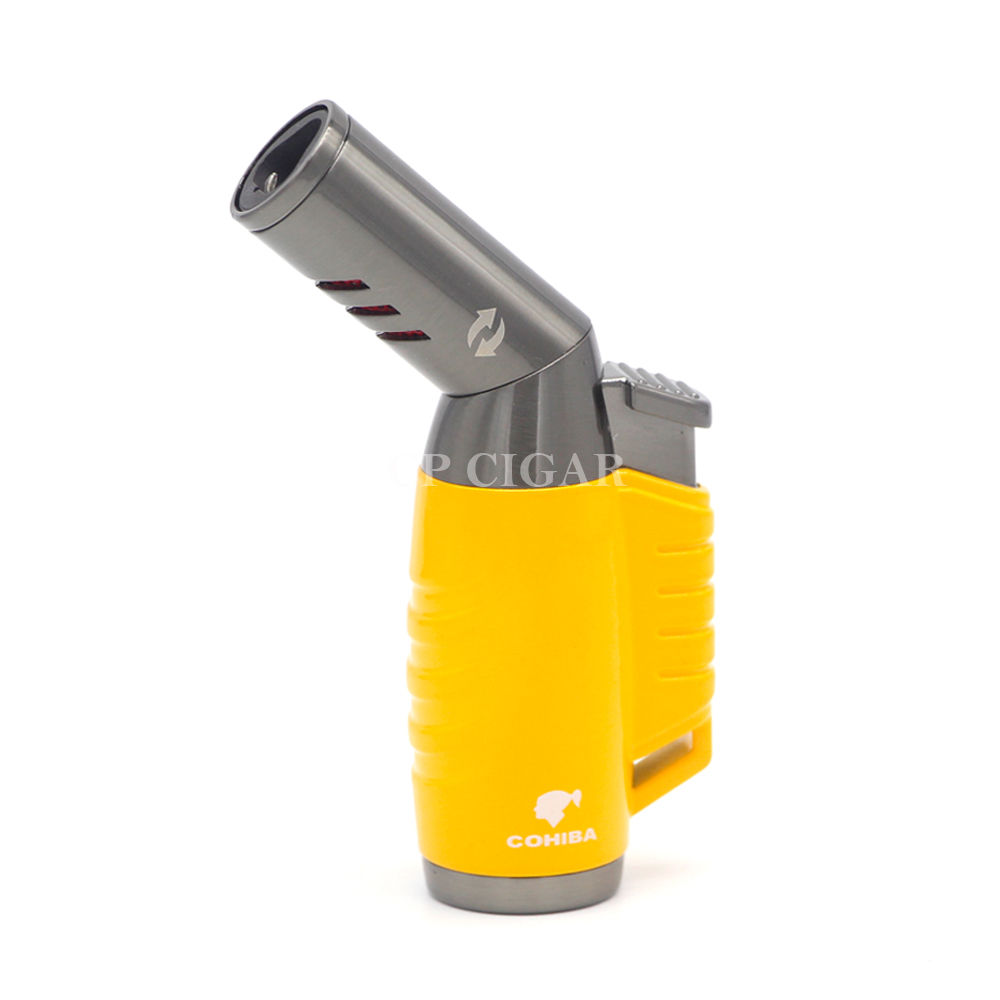 COHIBA Yellow Grey Metal Rotatable Gasline Triple Flame Torch Windproof Butane Gas Cigar Cigarette Lighter with Gift Box