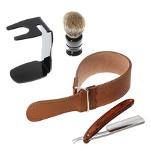 Professional 4 in 1 Men's Barber Shaving Set, Retro Steel Straight Razor + Shaving Brush + Black Stand  + Razor Strop Belt