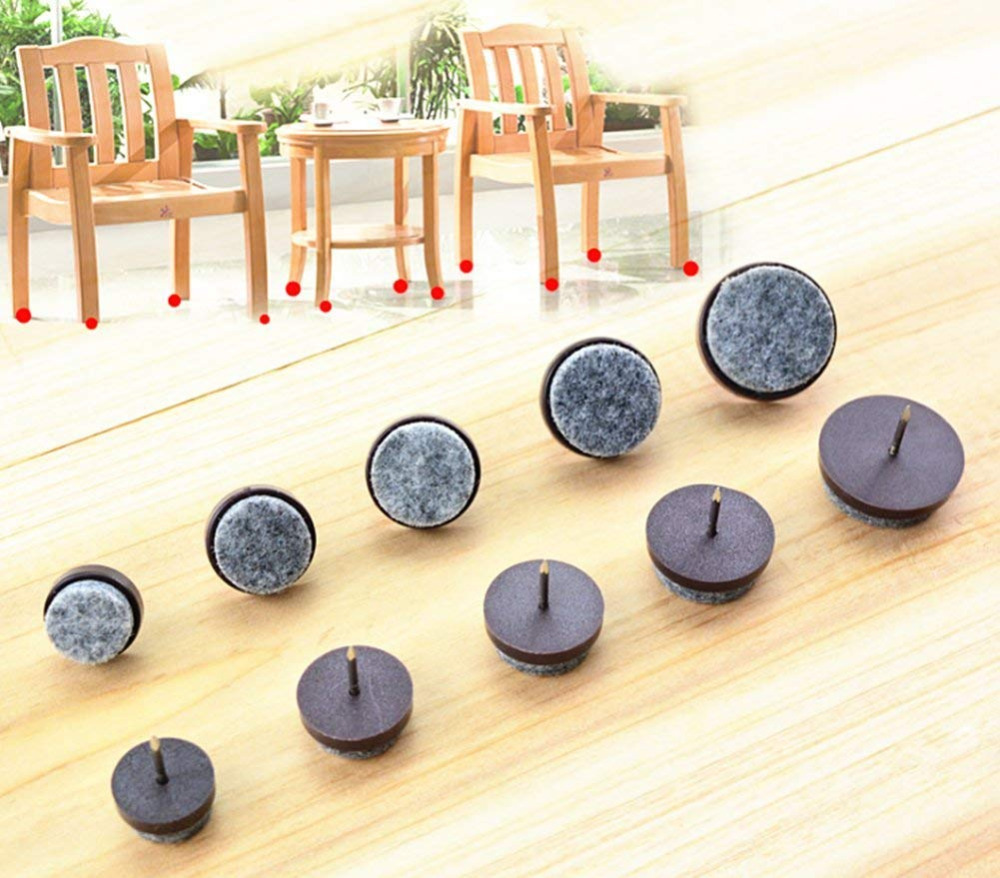 40pcs Furniture Felt Pad Round Heavy Duty Nail-on Slider Glide Pad Floor Protector For Wooden Furniture Chair Tables Leg Feet