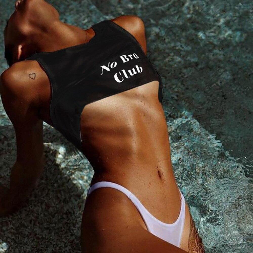 Summer Fashion Women Sexy No Bra Club Letter Print Short Tank Tops Bra Blouse Crop Top Cami Tank Sexy Casual Sleeveless Clothes