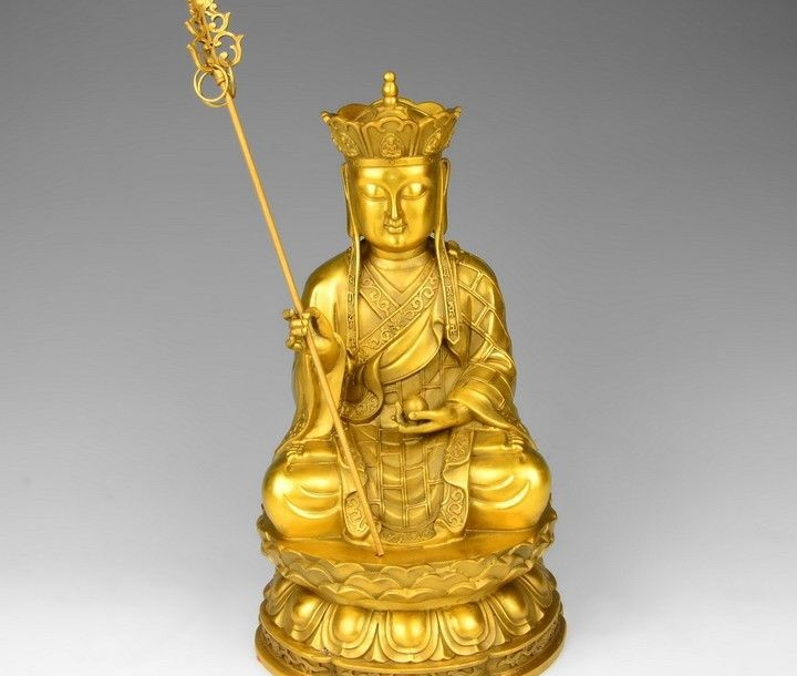 13 Tibet Brass Buddha Copper Jizo Ksitigarbha Tangseng Di Zang King Bead Statue statues wholesale beaded swimsuit bead applique -