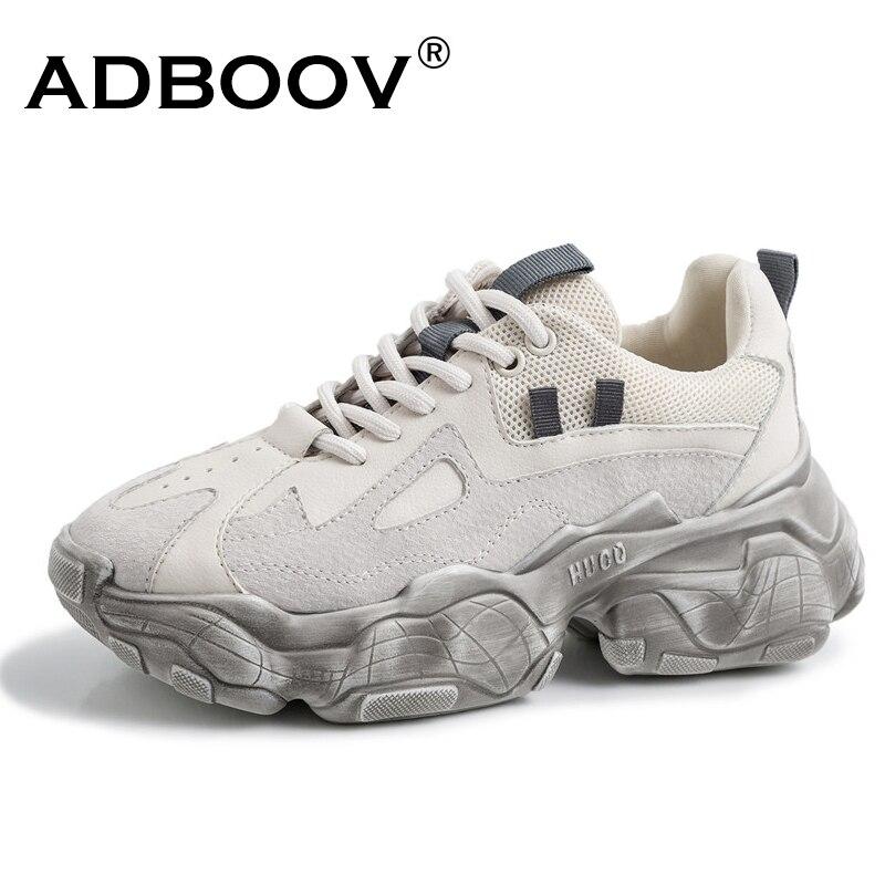 ADBOOV nouvelles baskets Chunky en cuir véritable femmes grande taille 35-42 chaussures à plate-forme Femme baskets en détresse dames Basket Femme