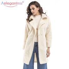 Aelegantmis Otoño Invierno espesar caliente mujeres largo abrigo peludo  sólido elegante Faux piel chaqueta Casual abrigos blanco 03a0c58d2d5b