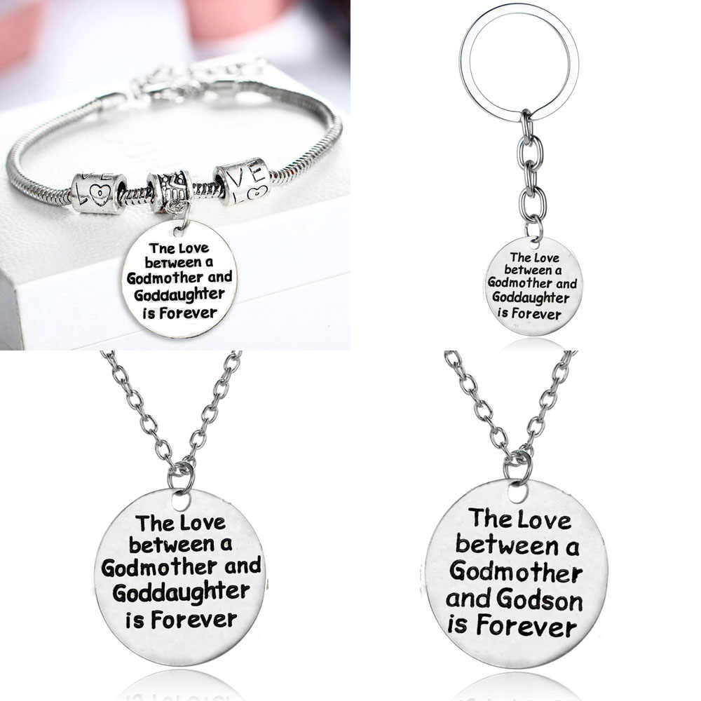 Love Between Godmother Goddaughter Charm Bracelet Jewelry Silver Pendant For Women Gifts Bracelets Keychain Keychain Keyring