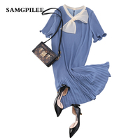 Maxi Dress Sale 2019 New A line Solid Short Sleeve Bow Knee length Natural Summer Fashion Women Dresses L 4xl