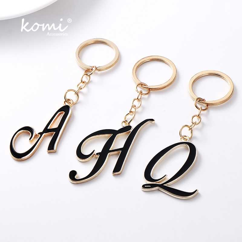 KOMI DIY A-Z Letters key Chain For Men Gold Metal Keychain Women Car Key Ring Letter Name Key Holder Party Gift Jewelry A10123
