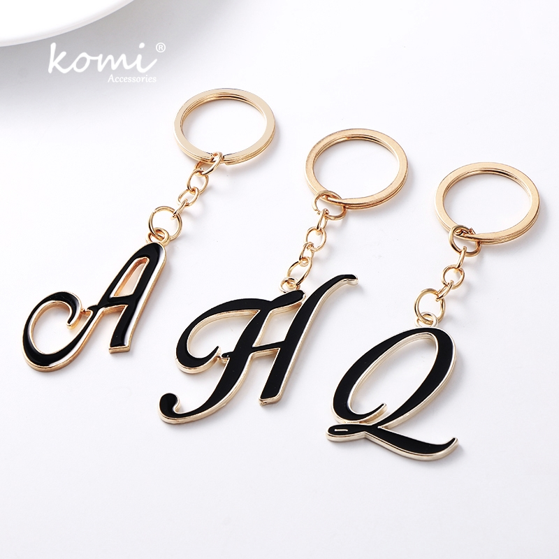 KOMI DIY A-Z Letters key Chain For Men Gold Metal Keychain Women Car Key Ring Letter Name Key Holder Party Gift Jewelry A10123 metalworking hand tool