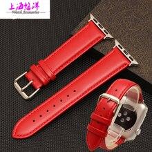 38 | 42 mm alta calidad de cuero importados correa de reloj con hebillas de moda