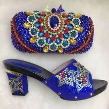 BLAU Neue Mode Italienische Schuhe mit Passenden taschen Für Party Hohe qualität african Schuhe Und Taschen für Hochzeit schuh und tasche