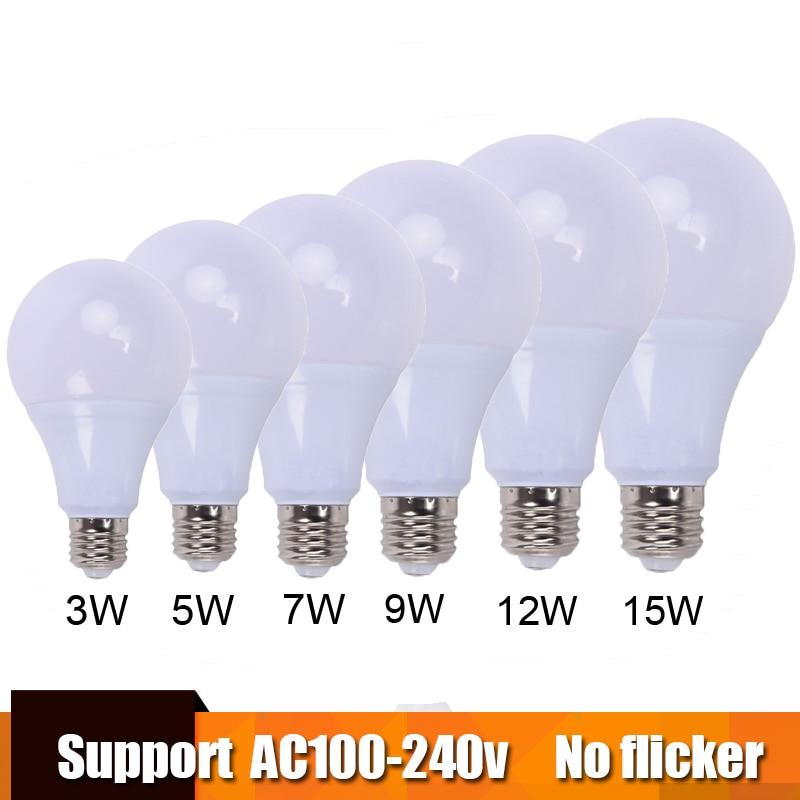 Top quality lamp led bulb e27 lampa B22 3w 5w 7w 9w 12w 15w for 110v 127v 220v 230v Energy Saving Home Lighting aluminum cooling