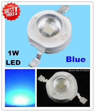 50pcs/lot, 1W Blue led beads, high power led emitter light source, blue Leds for lamp DIY, (No: GH-1W-B ) freeshipping