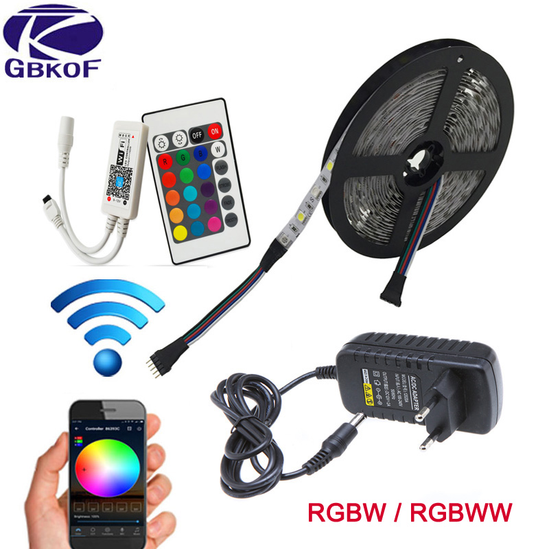 WiFi Control RGB RGBWW RGBW Led Strip Light Waterproof 5M 10M Flexible Led tape diode ribbon+WiFi 24Keys Controller+Adapter set 10m 5m 3528 5050 rgb led strip light non waterproof led light 10m flexible rgb diode led tape set remote control power adapter