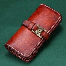 Handmad Cow Leather Wallets Confucian Classics Buckle Snow Lion Bag Purses Women Men Long Clutch Vegetable Tanned Leather Wallet