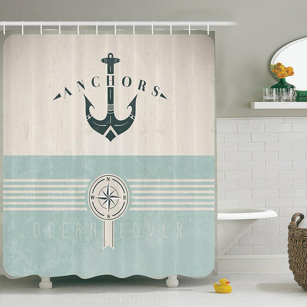 Ocean Decor Shower Curtain Nautical Anchor Sailor Sea Directions ...