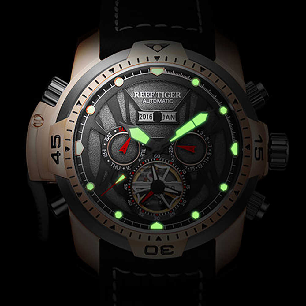 2019 Reef Tiger/RT Sport Watch Complicated Dial Year Month Perpetual Calendar Big Steel Case Watches Relogio Masculino RGA3532