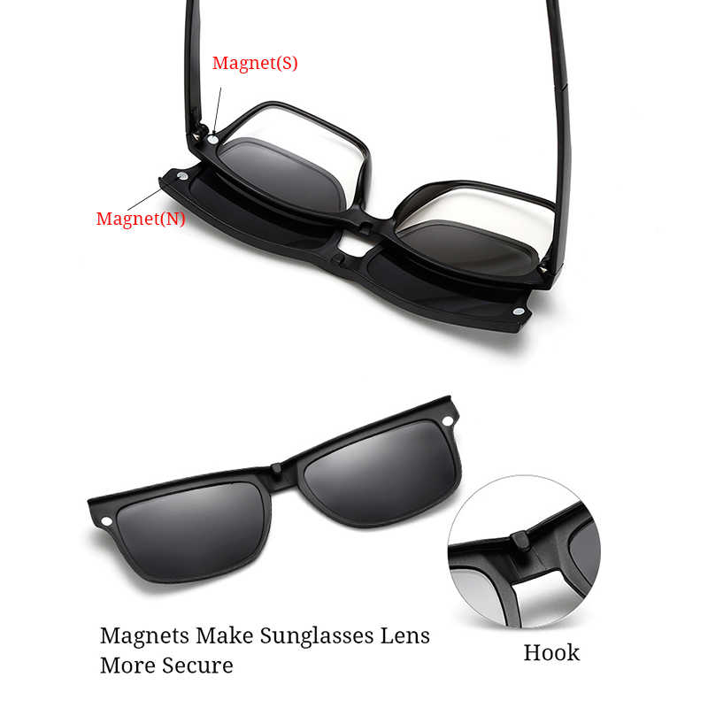 2455dfd4d8 ... RBUDDY Magnet Sunglasses Men Polarized clip on sunglasses Driving  Square women clear glasses frame Night vision ...