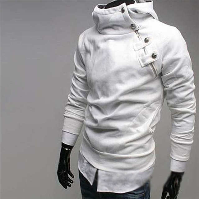 Mens Hoodies Sweatshirt Thick Sleeve Jacket Cotton Diagonal Faux Rabbit Fur Collar Coat Hooded Outwear 0003