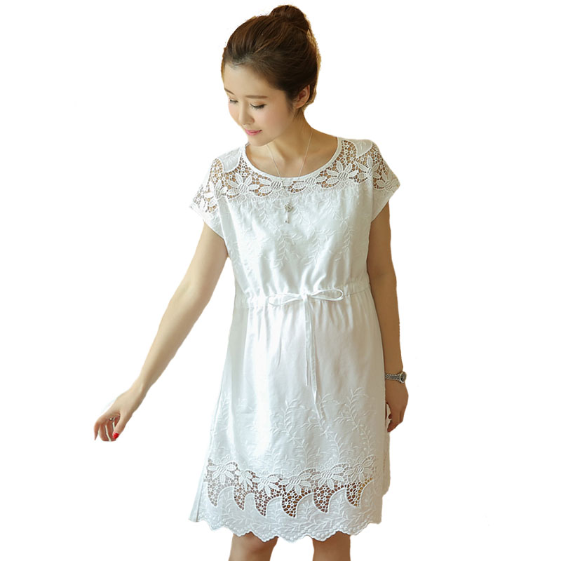 Maternity Dress Pregnant Women Pregnancy Womens Dress Short Sleeve Summer Clothing Cotton Hollow White Clothes M28