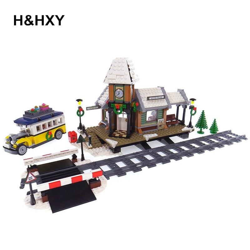 H HXY 36011 Genuine 1010Pcs Creative Series The Winter Village Station Lepin Building Blocks Bricks Children