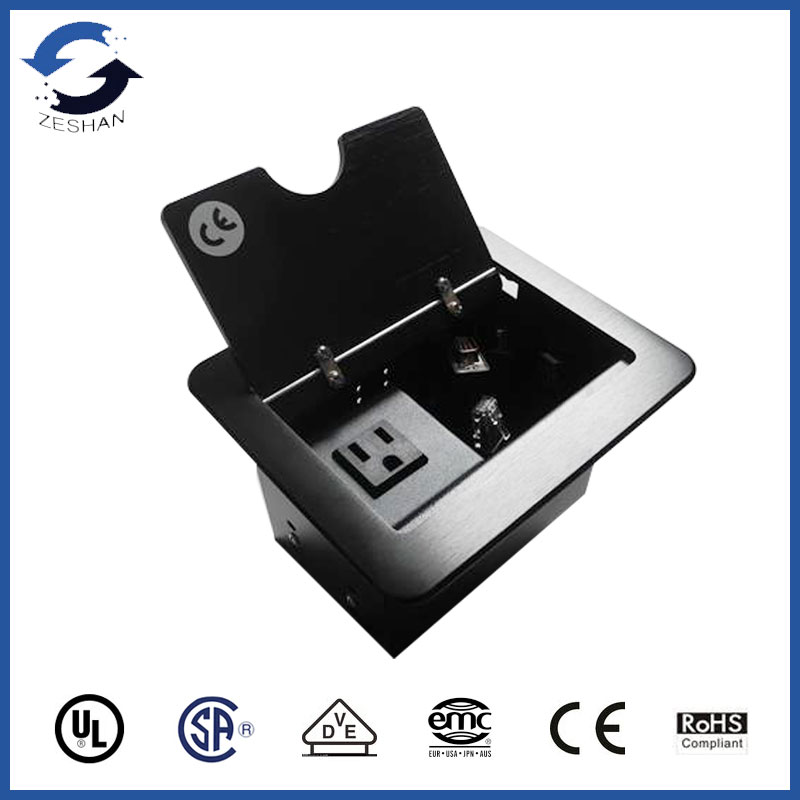 Black table Socket with US power and Cables